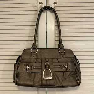 Chaps Metallic Brown / Gray Shoulder Bag Purse.